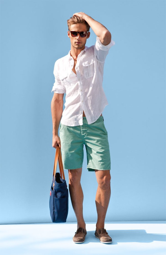 White-Shirt-Green-Shorts