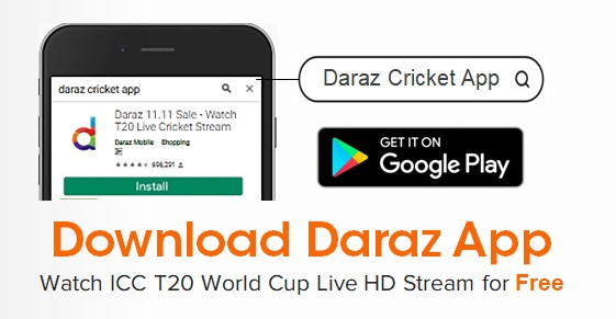 Watch ICC T20 Cricket Worldcup Live Streaming on Daraz App
