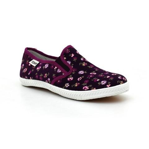 Black & Purple Floral Canvas Shoes