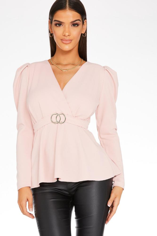 Quiz Pink Puff Sleeve Peplum Top
