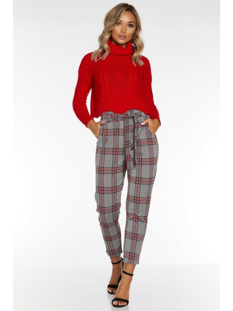 Quiz Black and Red Check Paper Bag Trouser