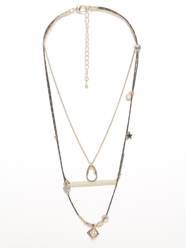 LimeLight White Layered Charms Necklace
