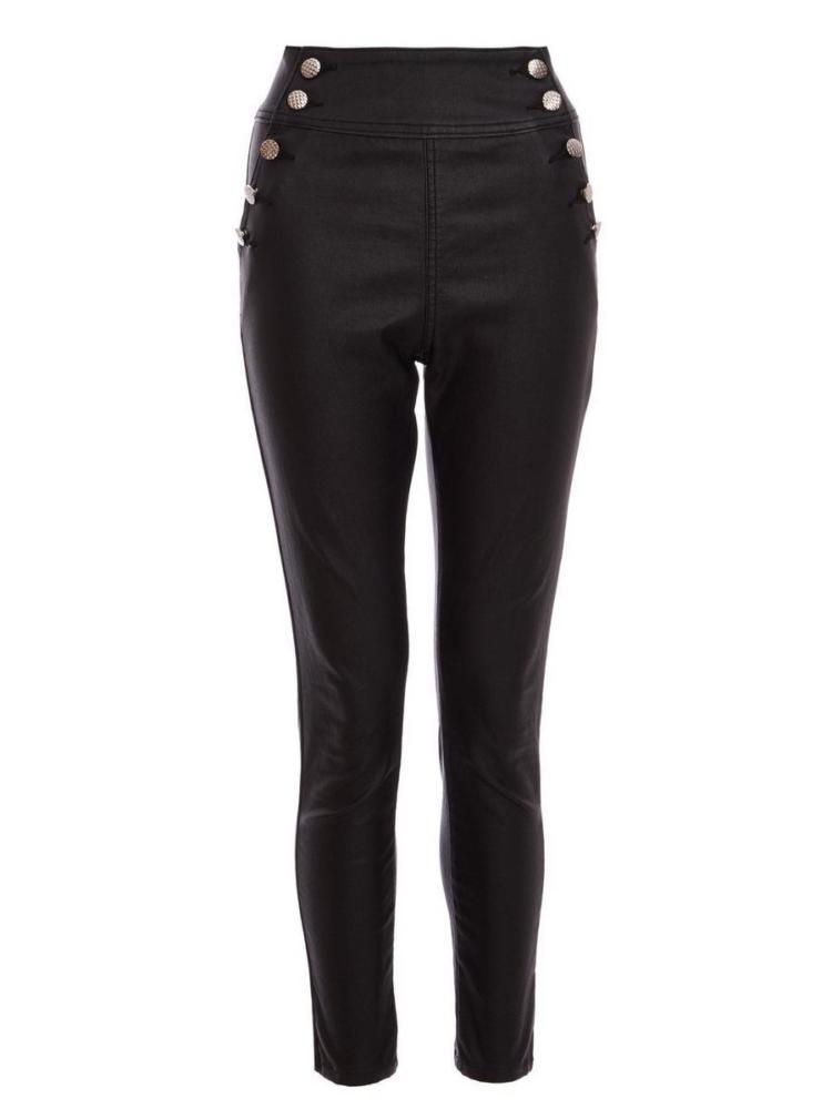 Quiz Black High Waisted Button Skinny Jeans