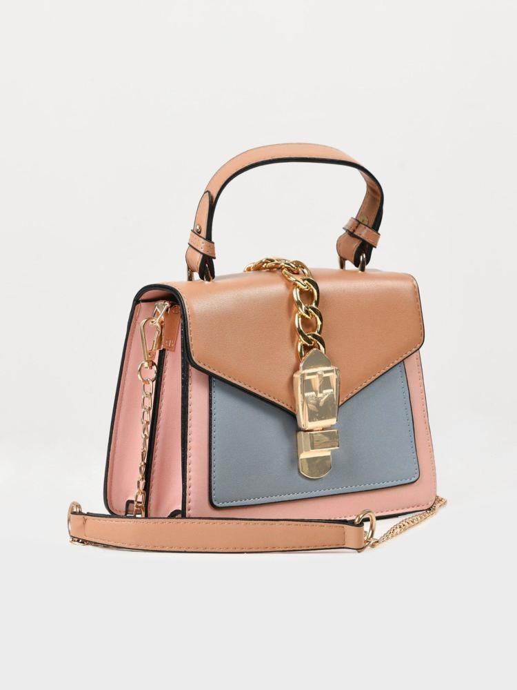LimeLight Khaki Multi Toned Buckle Handbag