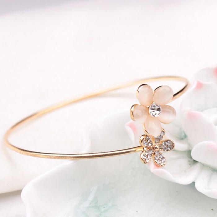 Crystal Rose Flower Bangle