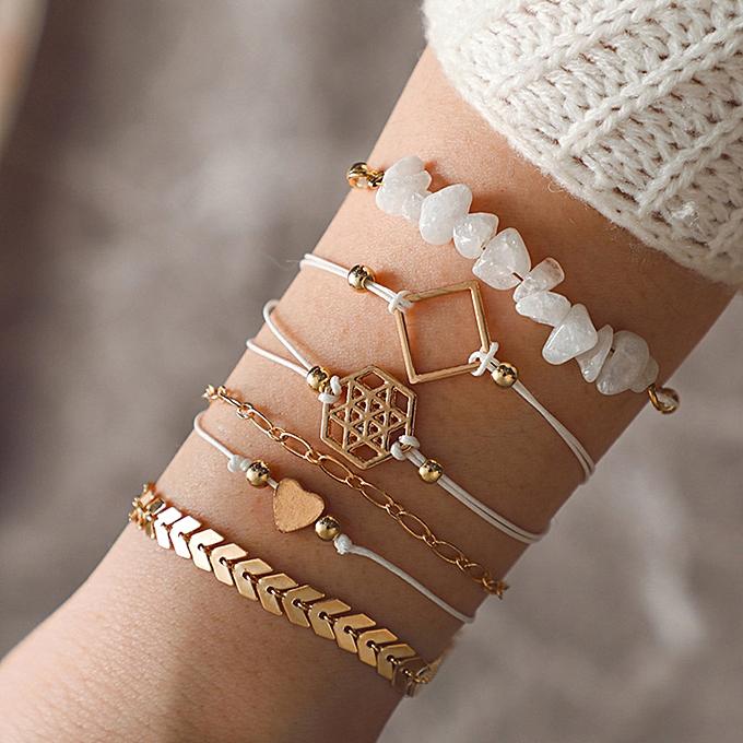 6pc Geometric Chain Bracelet Set