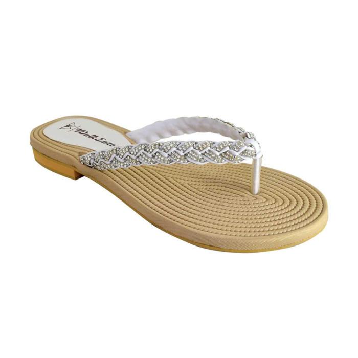White Embellished Flip Flops